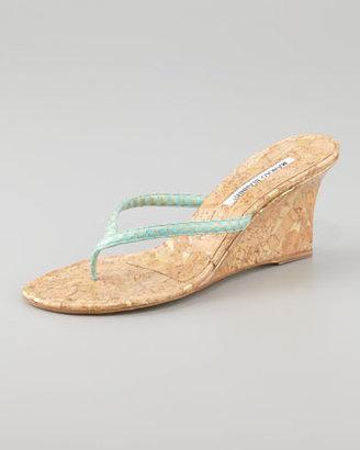 Manolo Blahnik Patwedfac Snakeskin Wedge Thong Sandal