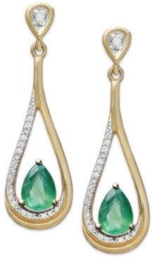 Macy's 14k Gold Earrings, Emerald (3/4 ct. t.w.) and Diamond (1/10 ct. t.w.) Pear-Shaped Drop Earrings