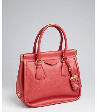 Prada fire saffiano leather frame top satchel