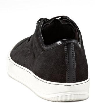 Lanvin Patent-Toe Suede Sneaker, Black