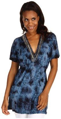 MICHAEL Michael Kors S/L Tie Dye Smocked Top (Seaglass Blue) - Apparel