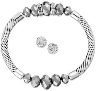 Charter Club Silver-Tone Gray Bead Stretch Bracelet and Pave Stud Earrings Jewelry Set