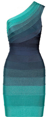Herve Leger Ombré one-shoulder bandage dress
