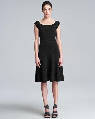 Donna Karan Cap-Sleeve Fit-and-Flare Dress