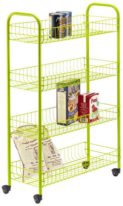 Container Store Green 4-Tier Slim Rolling Cart