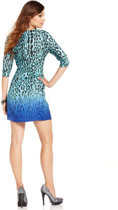 GUESS by Marciano Dress, Three-Quarter V-Neck Leopard-Print Ombre