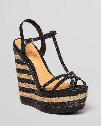 Schutz Peep Toe Platform Wedge Sandals - Inara Striped