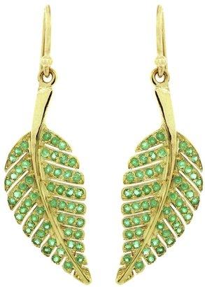 Jennifer Meyer emerald leaf earring