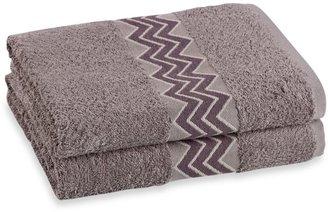 Bed Bath & Beyond Revere Mills Bathsol Chevron Bath Towels in Grey (Pack of 2)