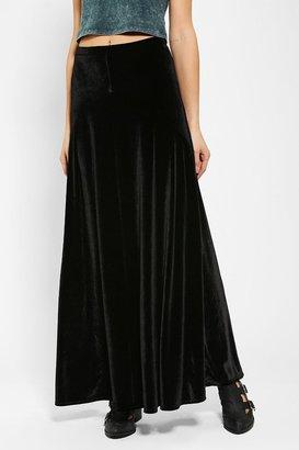 Urban Outfitters Ecote Half-Moon Velvet Maxi Skirt