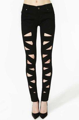 Nasty Gal Tripp NYC Lattice Leg Skinny Jeans