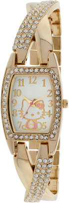 Hello Kitty Gold-Tone Crystal Crisscross Watch $50 thestylecure.com