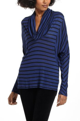 Anthropologie Striped Cowlneck Dolman