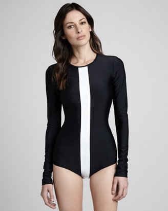 Cover Long-Sleeve One-Piece Swimsuit