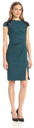 Magaschoni Women's Embellished Shoulder Crew Neck Dress