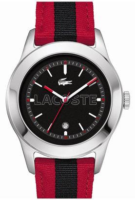 Lacoste 'Advantage' Grosgrain Strap Watch, 42mm Red