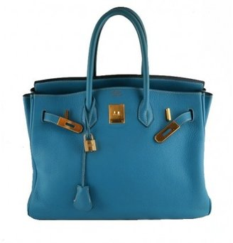 Hermes very good (VG Blue Jean Leather 35cm Birkin Bag with Gold Hardware