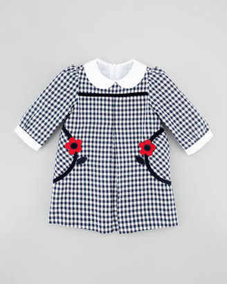 Florence Eiseman Flower-Pocket Gingham Dress, Navy/White
