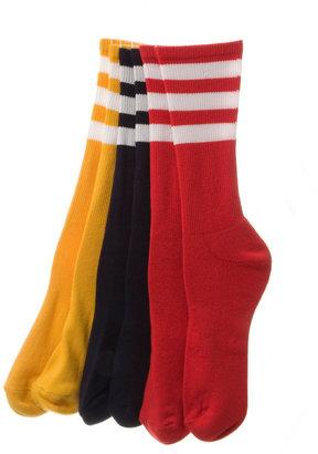American Apparel Stripe Calf-High Colored Sock (3-Pack)
