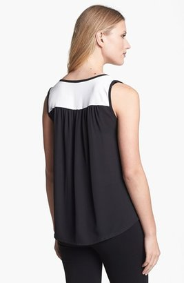 Chaus Colorblock V-Neck Top Angel White Large