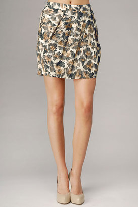 7 For All Mankind Leopard Print Silk Cotton Voile Tucked Skirt