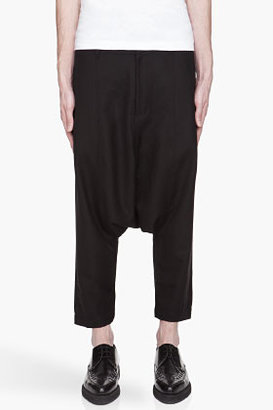 Comme des Garcons Black wool-blend twill gabardine harem trousers