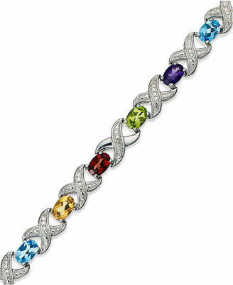Macy's Multi Stone (6-1/2 ct. t.w.) and Diamond Accent XO Bracelet in Sterling Silver