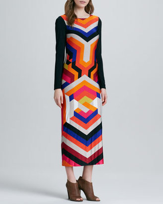 Trina Turk Kanza Long-Sleeve Mix-Stripe Maxi Dress