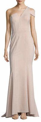 Betsy & Adam Scuba Crepe One-Shoulder Floor-Length Gown