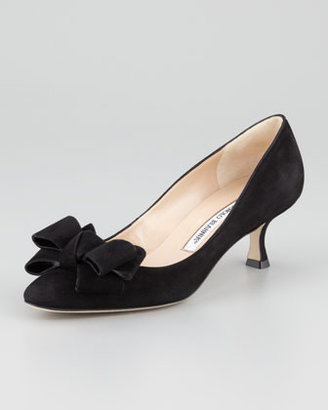 Manolo Blahnik Lisanewbo Suede Low-Heel Bow Pump, Black