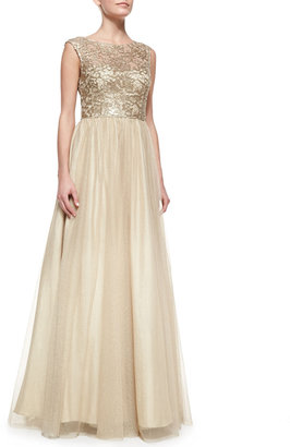 Aidan Mattox Cap-Sleeve Lace Bodice Gown, Gold