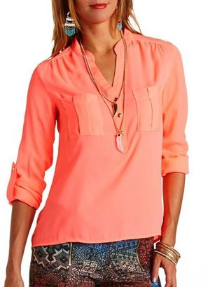 Charlotte Russe Neon Button-Up Pullover Blouse