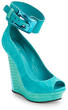 Brian Atwood Alouette Mixed-Media Peep-Toe Wedges