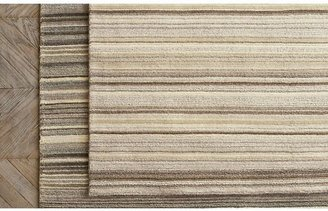 Crate & Barrel Lynx Natural Striped Hand Knotted Wool Rug