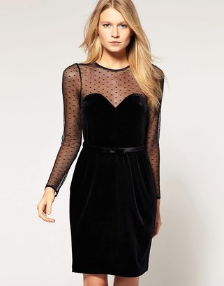 Oasis Velvet Dress with Sheer Top $86 thestylecure.com