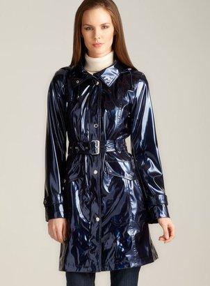 Ellen Tracy Hooded Slick Raincoat
