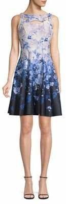 Gabby Skye Floral-Print Scuba Fit--Flare Dress