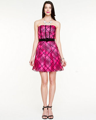 Le Château Check Print Organza Party Dress