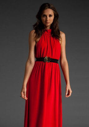 Alice + Olivia Adi High Neck Dress with Belt