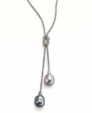 Majorica 14MM Grey and Nuage Baroque Pearl& Sterling Silver Lariat Necklace