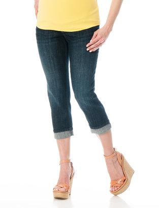 Motherhood Indigo Blue Secret Fit Belly® Cuffed Maternity Crop Jeans