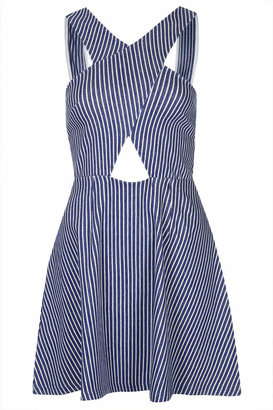 Topshop Wrap front striped denim dress