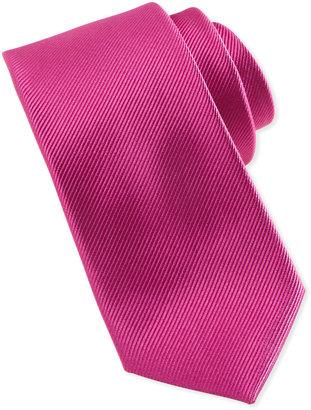 Neiman Marcus Solid Bias Ribbed Silk Tie, Fuchsia