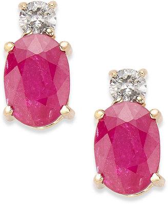 14k Gold Earrings, Ruby (2 ct. t.w.) and Diamond (1/8 ct. t.w.) Oval Earrings