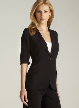 Elizabeth and James One Button 3/4-Sleeve Crepe Blazer