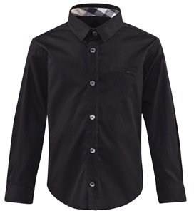Burberry Black Shirt with Nova Check Cuffs