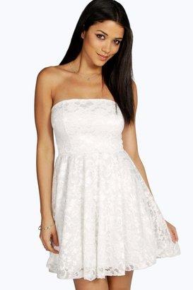 Boohoo Lulu Lace Bandeau Skater Dress