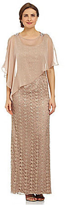 Adrianna Papell Lace Gown With Sheer Asymmetric Caplet