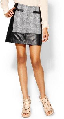 Nanette Lepore Ponte Leather Skirt