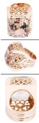 575 Denim excellent (EX) Ladies Large 18K Yellow Gold Ornately Designed Topaz Ring Sz.